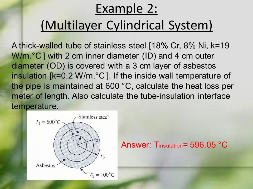 Example 2: (Multilayer Cylindrical System) A thick-walled tube of stainless steel [18% Cr, 8% Ni, k=19 W/m.°C ] with 2 cm inner diameter (ID) and 4 cm