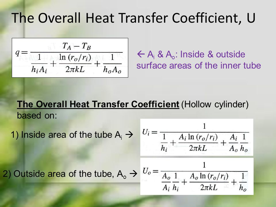 The Overall Heat Transfer Coefficient, U  A i & A o : Inside & outside surface areas of the inner tube The Overall Heat Transfer Coefficient (Hollow