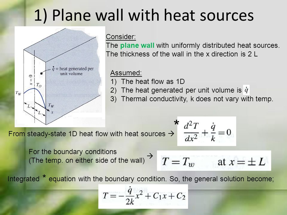 1) Plane wall with heat sources Consider: The plane wall with uniformly distributed heat sources. The thickness of the wall in the x direction is 2 L