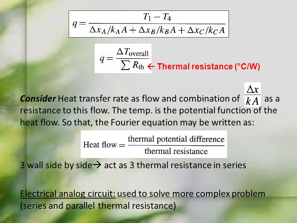 Consider Heat transfer rate as flow and combination of as a resistance to this flow. The temp. is the potential function of the heat flow. So that, th