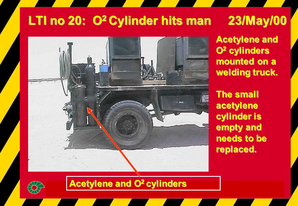 LTI no 20: O 2 Cylinder hits man 23/May/00 Acetylene and O 2 cylinders mounted on a welding truck. The small acetylene cylinder is empty and needs to