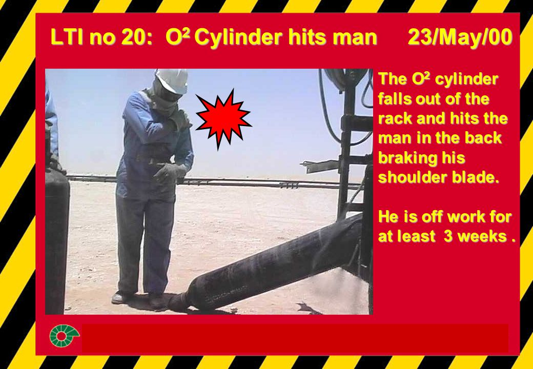 LTI no 20: O 2 Cylinder hits man 23/May/00 The O 2 cylinder falls out of the rack and hits the man in the back braking his shoulder blade. He is off w