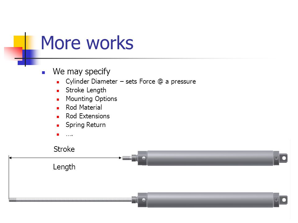 More works We may specify Cylinder Diameter – sets Force @ a pressure Stroke Length Mounting Options Rod Material Rod Extensions Spring Return ….