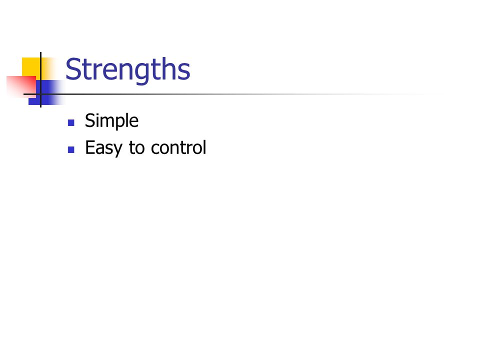 Strengths Simple Easy to control