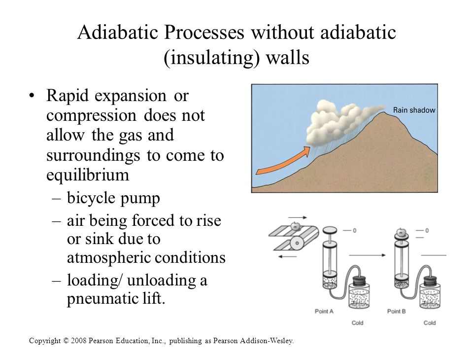 Copyright © 2008 Pearson Education, Inc., publishing as Pearson Addison-Wesley. Adiabatic Processes without adiabatic (insulating) walls Rapid expansi
