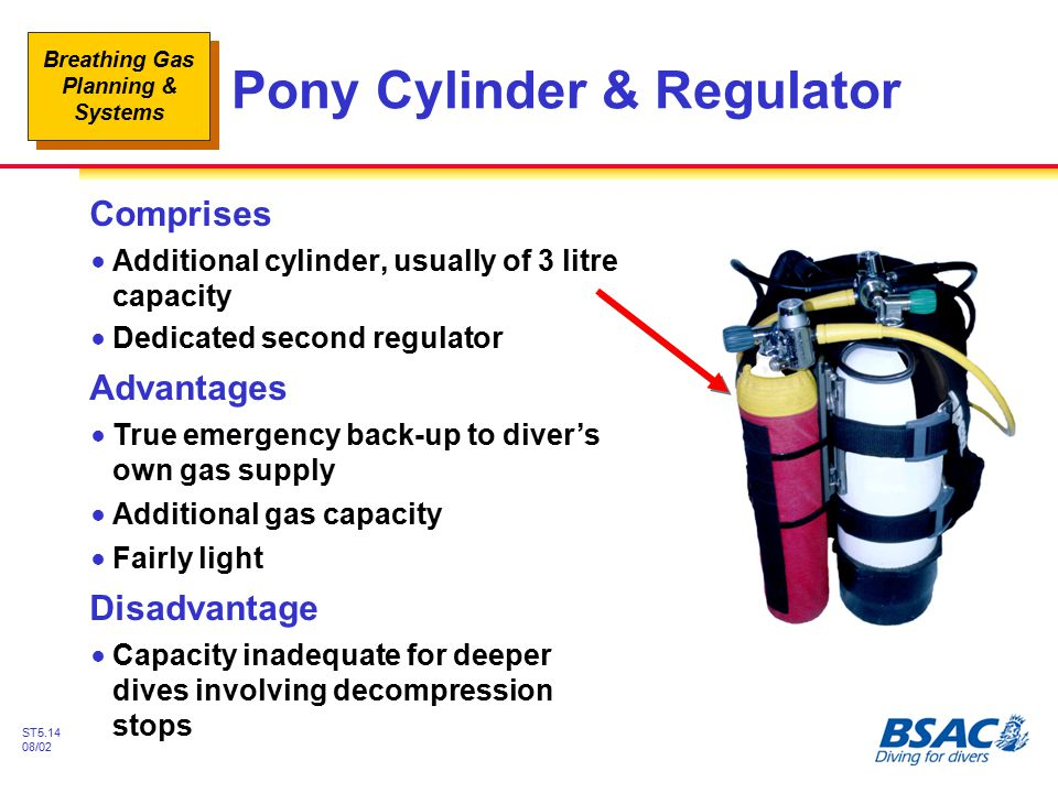 Breathing Gas Planning & Systems ST5.14 08/02 Pony Cylinder & Regulator Comprises !Additional cylinder, usually of 3 litre capacity !Dedicated second