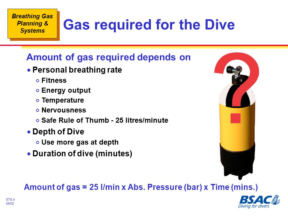 Breathing Gas Planning & Systems ST5.4 08/02 Gas required for the Dive Amount of gas required depends on !Personal breathing rate #Fitness #Energy out