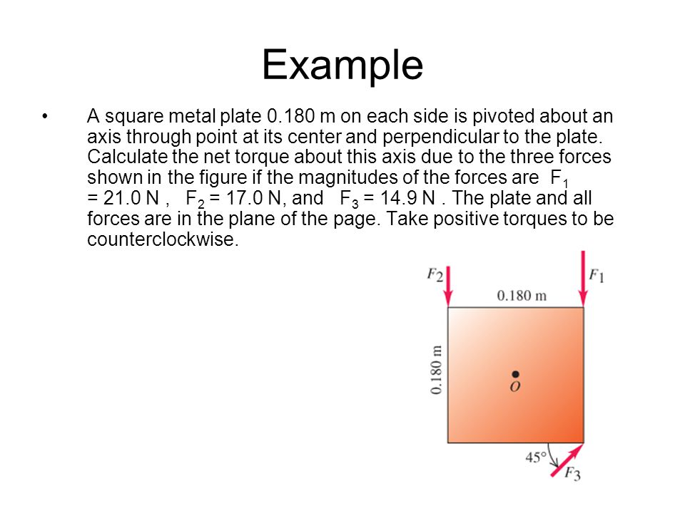 Example A square metal plate 0.180 m on each side is pivoted about an axis through point at its center and perpendicular to the plate. Calculate the n