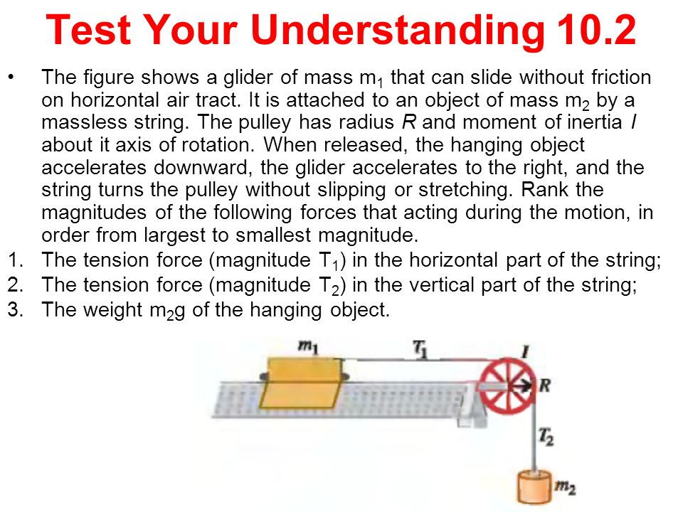 The figure shows a glider of mass m 1 that can slide without friction on horizontal air tract. It is attached to an object of mass m 2 by a massless s