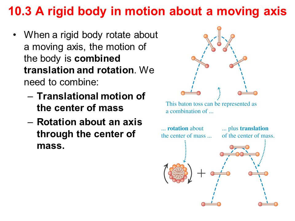 When a rigid body rotate about a moving axis, the motion of the body is combined translation and rotation. We need to combine: –Translational motion o