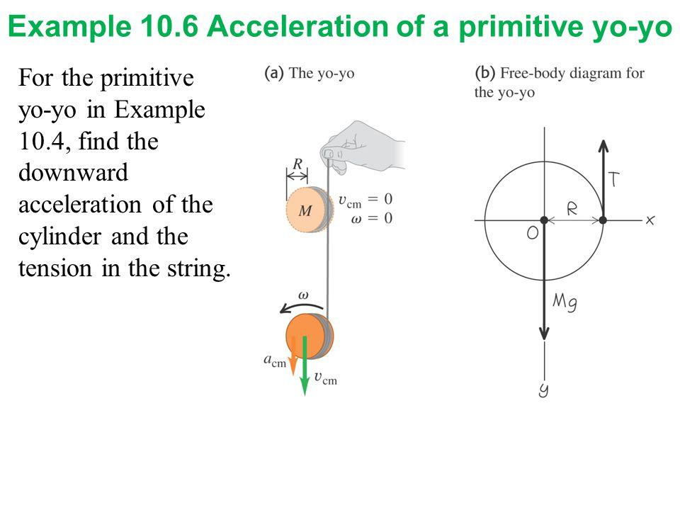 Example 10.6 Acceleration of a primitive yo-yo For the primitive yo-yo in Example 10.4, find the downward acceleration of the cylinder and the tension