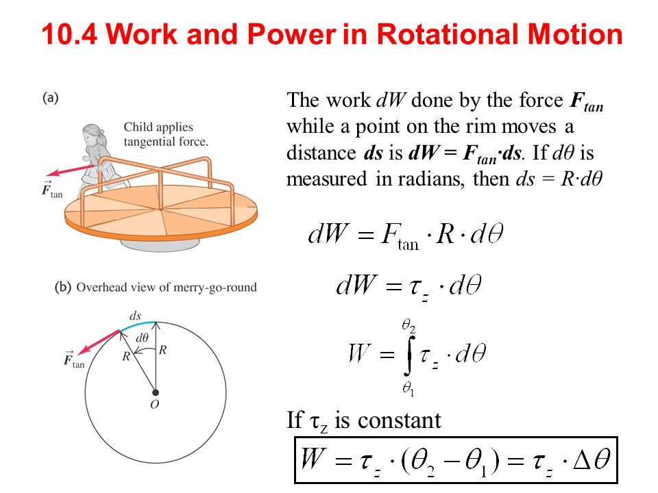 The work dW done by the force F tan while a point on the rim moves a distance ds is dW = F tan ∙ds. If dθ is measured in radians, then ds = R∙dθ 10.4