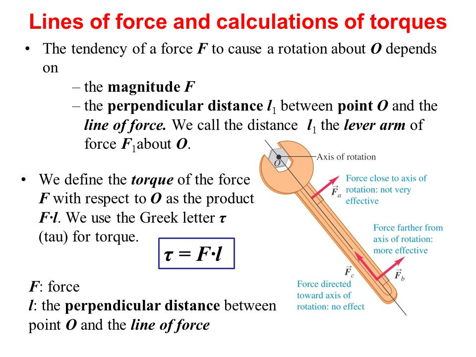The tendency of a force F to cause a rotation about O depends on –the magnitude F –the perpendicular distance l 1 between point O and the line of forc
