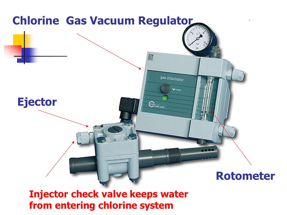 Chlorine Gas Vacuum Regulator Rotometer Ejector Injector check valve keeps water from entering chlorine system