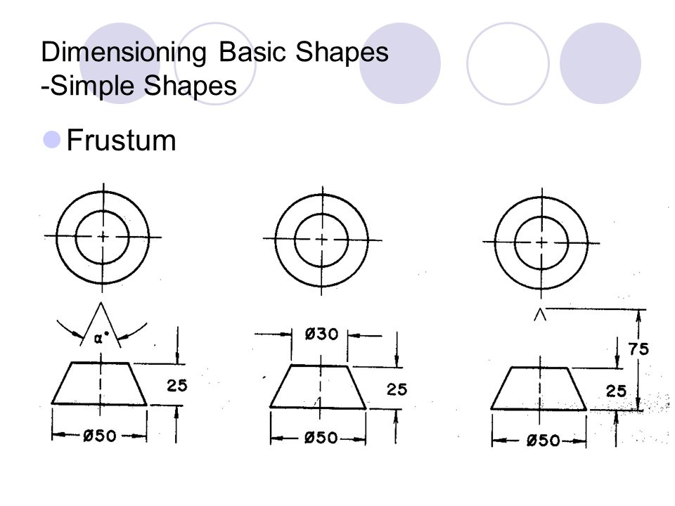 Frustum Dimensioning Basic Shapes -Simple Shapes