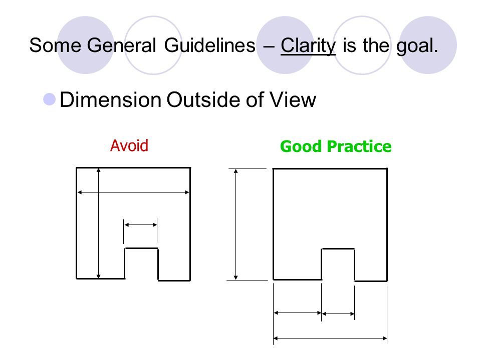 Some General Guidelines Start by dimensioning basic outside dimensions of the object.