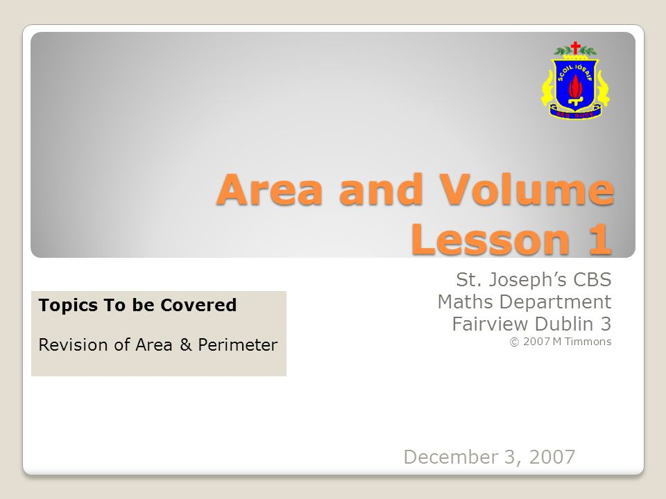 Area and Volume Lesson 1 St.