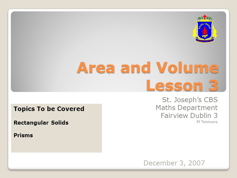 Area and Volume Lesson 3 St.