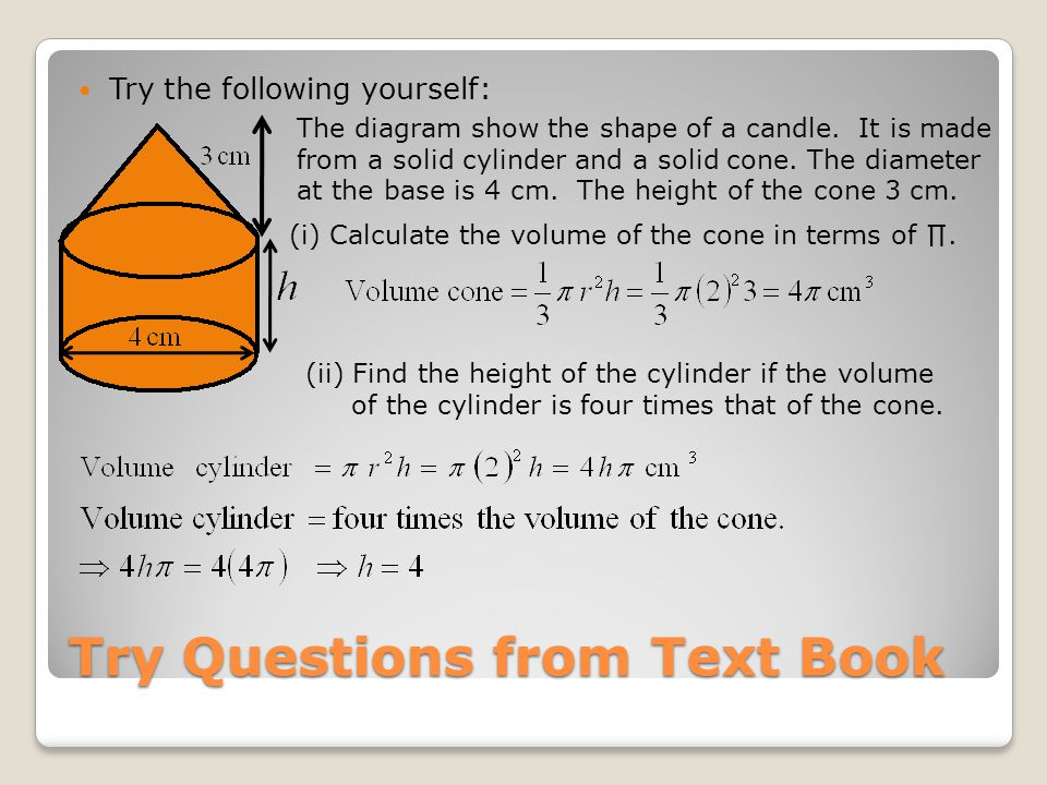 Try the following yourself: The diagram show the shape of a candle.
