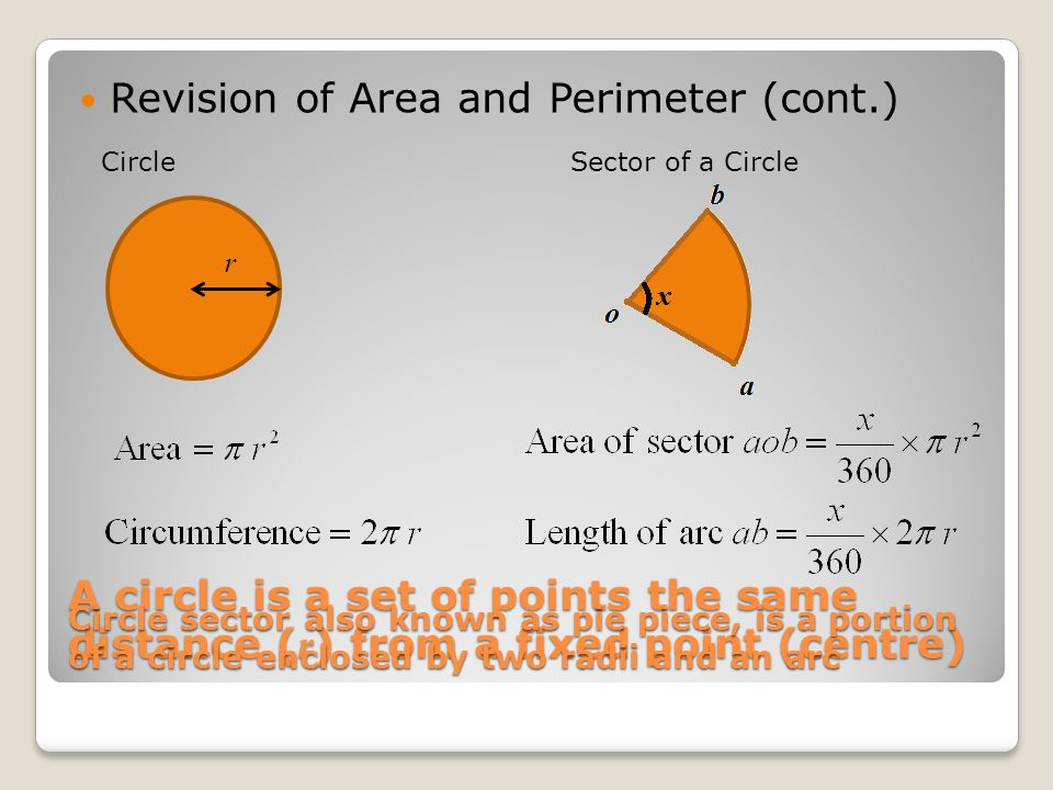 A circle is a set of points the same distance ( r ) from a fixed point (centre) Revision of Area and Perimeter (cont.) CircleSector of a Circle Circle sector also known as pie piece, is a portion of a circle enclosed by two radii and an arc r