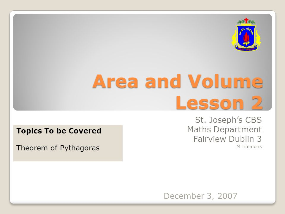 Area and Volume Lesson 2 St.