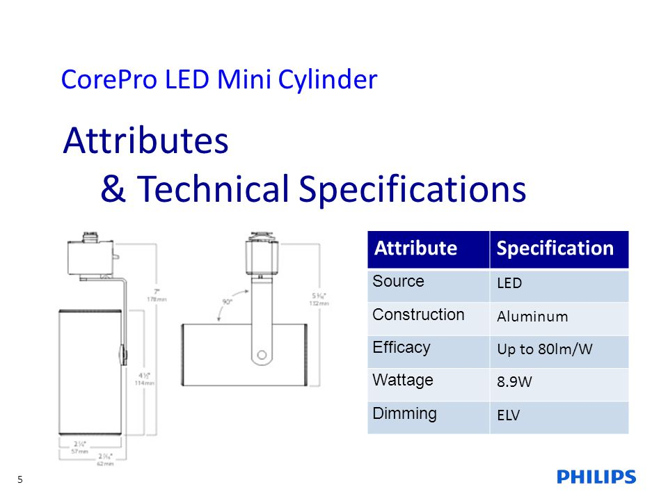 5 CorePro LED Mini Cylinder Attributes & Technical Specifications AttributeSpecification Source LED Construction Aluminum Efficacy Up to 80lm/W Wattag