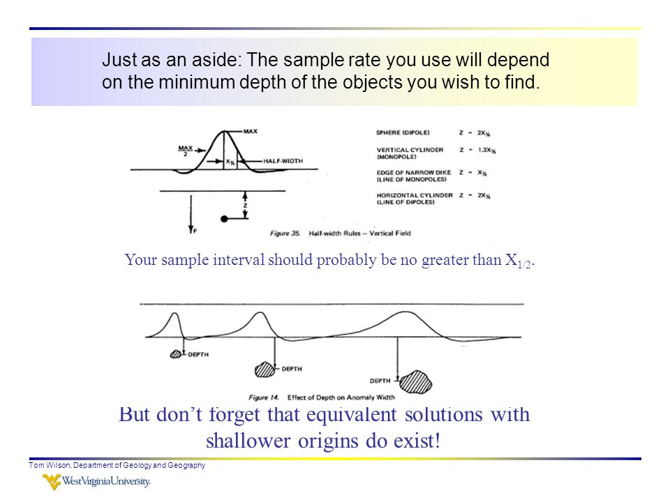 Tom Wilson, Department of Geology and Geography Just as an aside: The sample rate you use will depend on the minimum depth of the objects you wish to find.