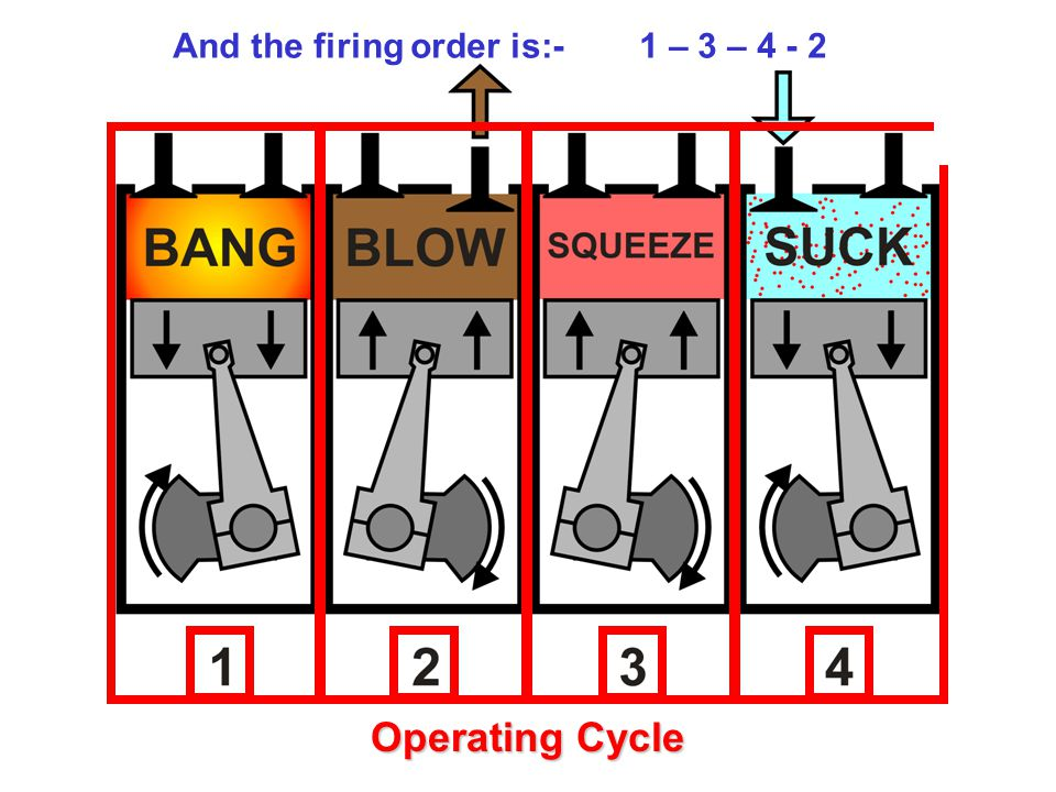 The cylinders are numbered from the front to the rear And the firing order is:- 1 – 3 – 4 - 2 Operating Cycle