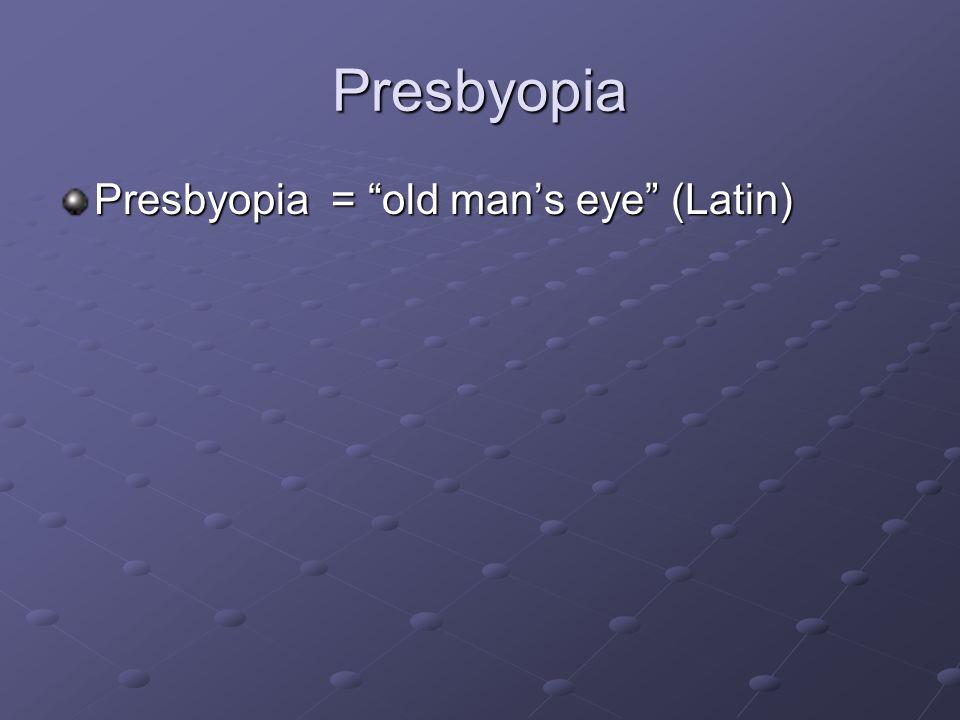 "Presbyopia Presbyopia = ""old man's eye"" (Latin)"