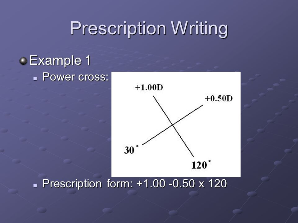 Prescription Writing Example 1 Power cross: Power cross: Prescription form: +1.00 -0.50 x 120 Prescription form: +1.00 -0.50 x 120