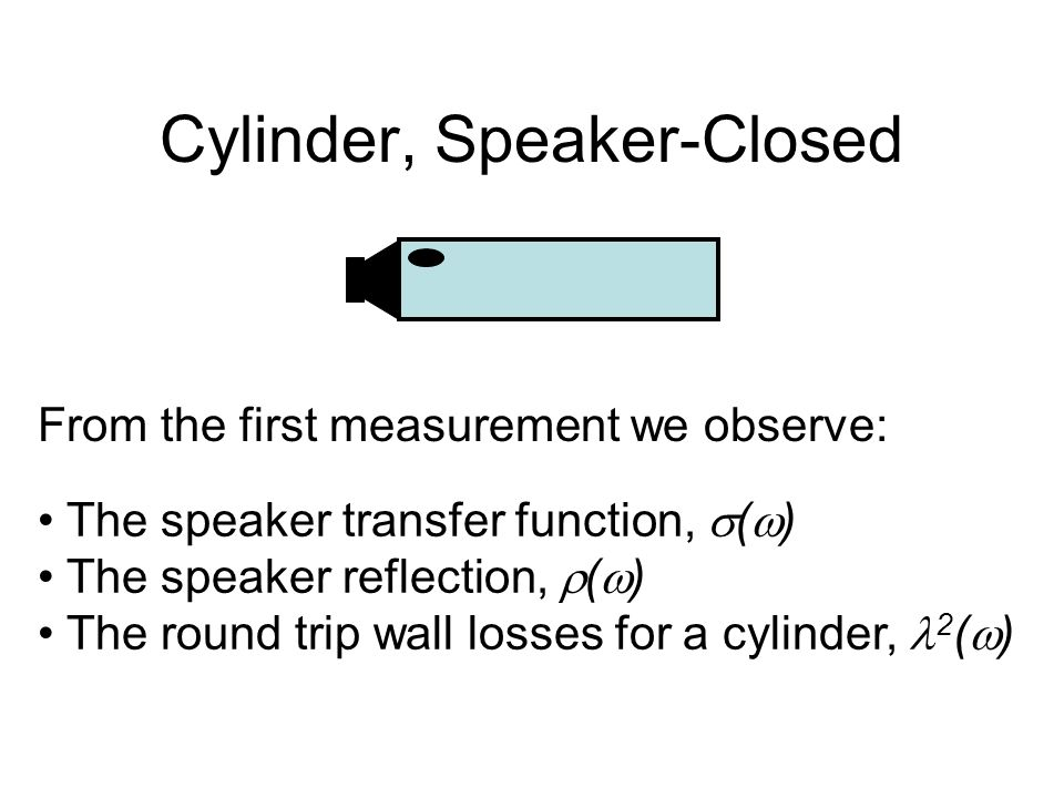Cylinder, Speaker-Closed From the first measurement we observe: The speaker transfer function,  (  ) The speaker reflection,  (  ) The round trip wall losses for a cylinder, 2 (  )