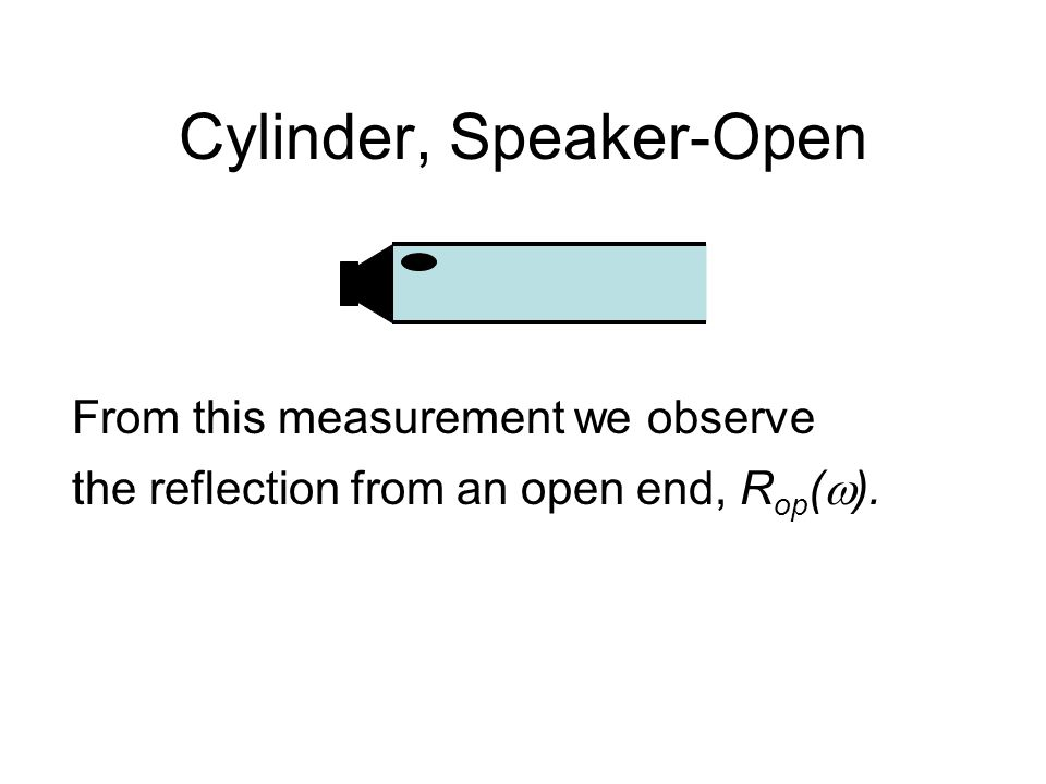 Cylinder, Speaker-Open From this measurement we observe the reflection from an open end, R op (  ).