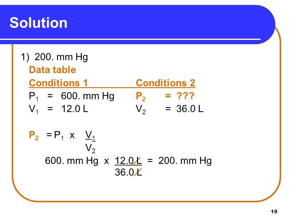 19 Solution 1) 200. mm Hg Data table Conditions 1Conditions 2 P 1 = 600. mm HgP 2 = ??? V 1 = 12.0 LV 2 = 36.0 L P 2 = P 1 x V 1 V 2 600. mm Hg x 12.0