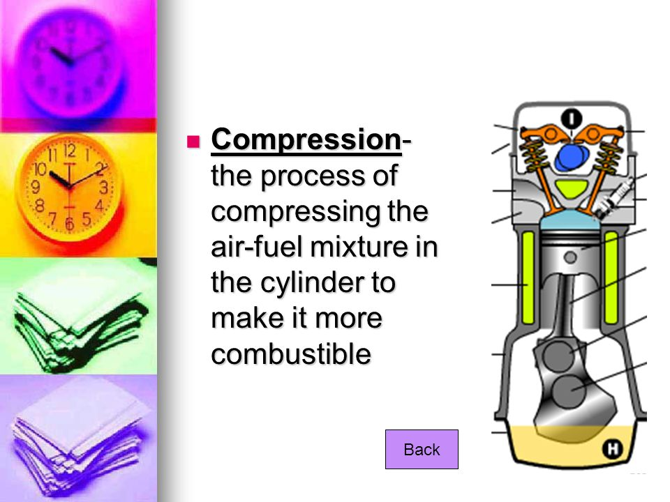 Compression- the process of compressing the air-fuel mixture in the cylinder to make it more combustible Compression- the process of compressing the a