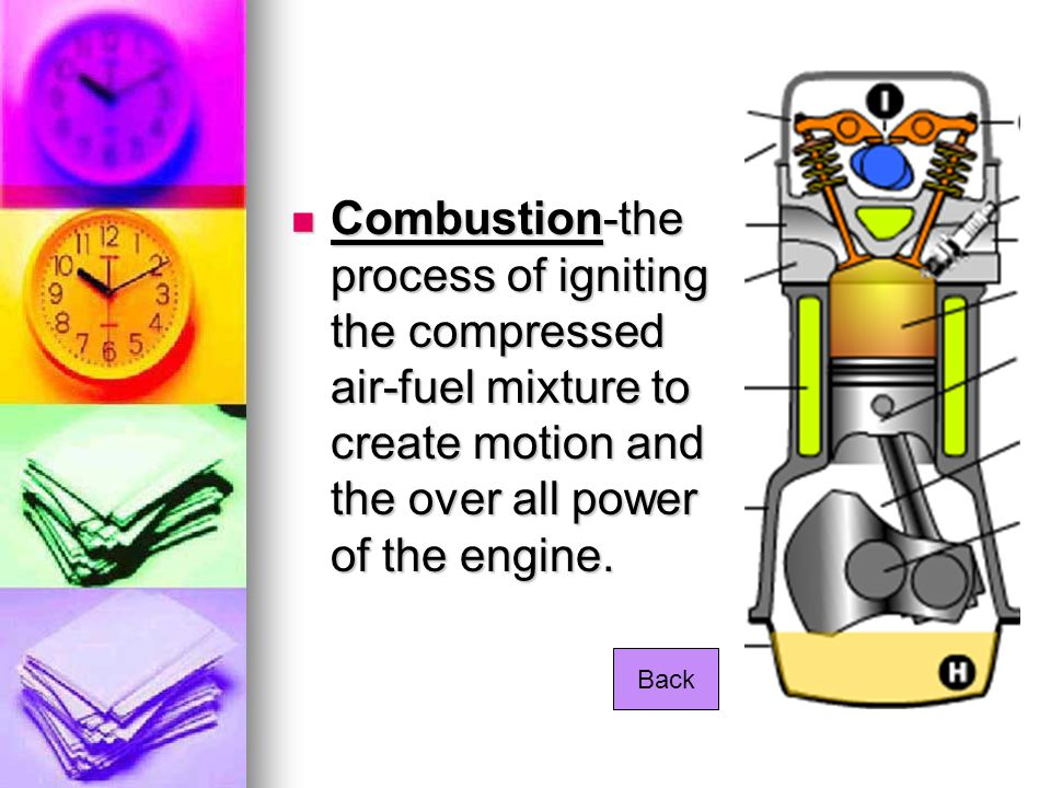 Combustion-the process of igniting the compressed air-fuel mixture to create motion and the over all power of the engine. Combustion-the process of ig