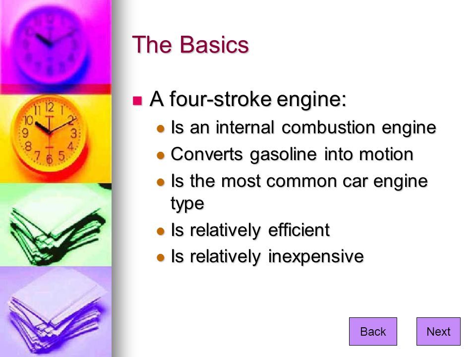 Other Engine Types Two-stroke engines Two-stroke engines Diesel engines Diesel engines Rotary engines Rotary engines Turbine engines Turbine engines Steam engines Steam engines NextBack