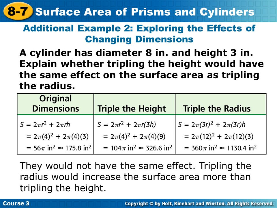 Course 3 8-7 Surface Area of Prisms and Cylinders Additional Example 2: Exploring the Effects of Changing Dimensions A cylinder has diameter 8 in.