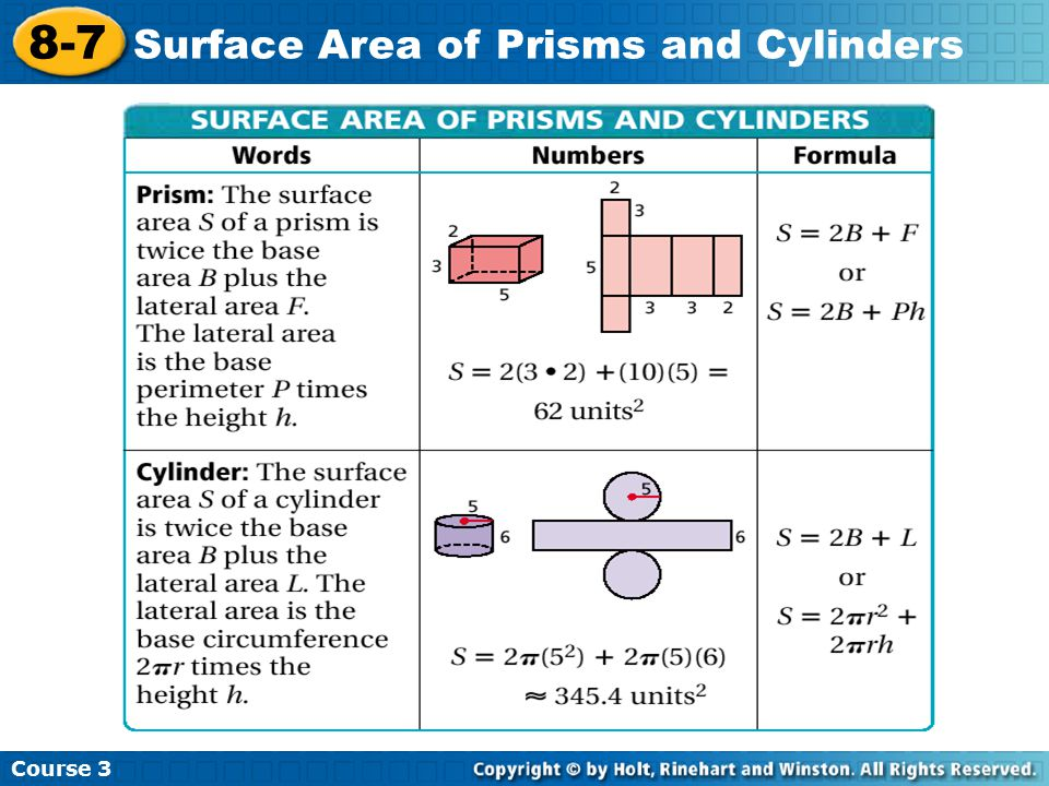 Course 3 8-7 Surface Area of Prisms and Cylinders A.
