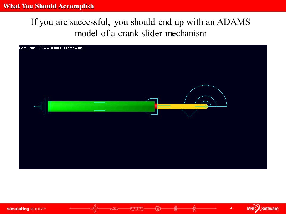 4 If you are successful, you should end up with an ADAMS model of a crank slider mechanism What You Should Accomplish