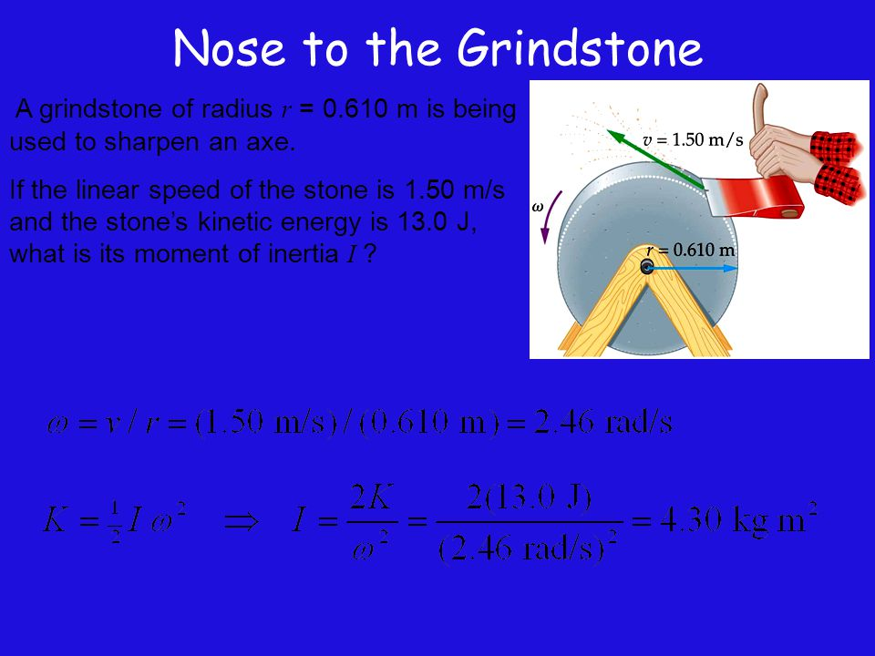 Nose to the Grindstone A grindstone of radius r = 0.610 m is being used to sharpen an axe. If the linear speed of the stone is 1.50 m/s and the stone'