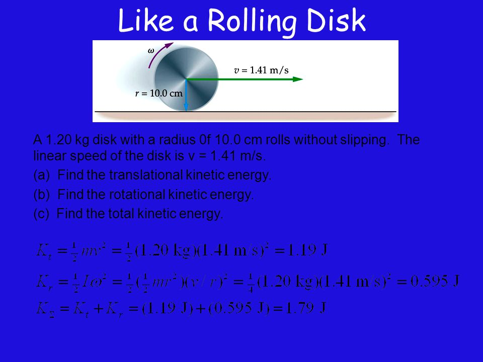 Like a Rolling Disk A 1.20 kg disk with a radius 0f 10.0 cm rolls without slipping. The linear speed of the disk is v = 1.41 m/s. (a) Find the transla