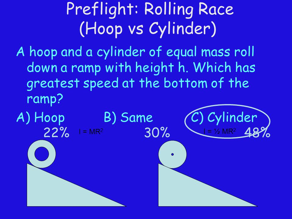 Preflight: Rolling Race (Hoop vs Cylinder) A hoop and a cylinder of equal mass roll down a ramp with height h. Which has greatest speed at the bottom