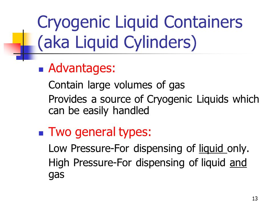 13 Cryogenic Liquid Containers (aka Liquid Cylinders) Advantages: Contain large volumes of gas Provides a source of Cryogenic Liquids which can be eas