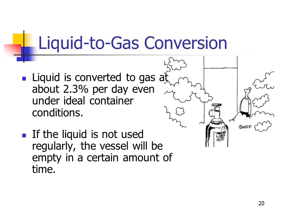 20 Liquid-to-Gas Conversion Liquid is converted to gas at about 2.3% per day even under ideal container conditions. If the liquid is not used regularl