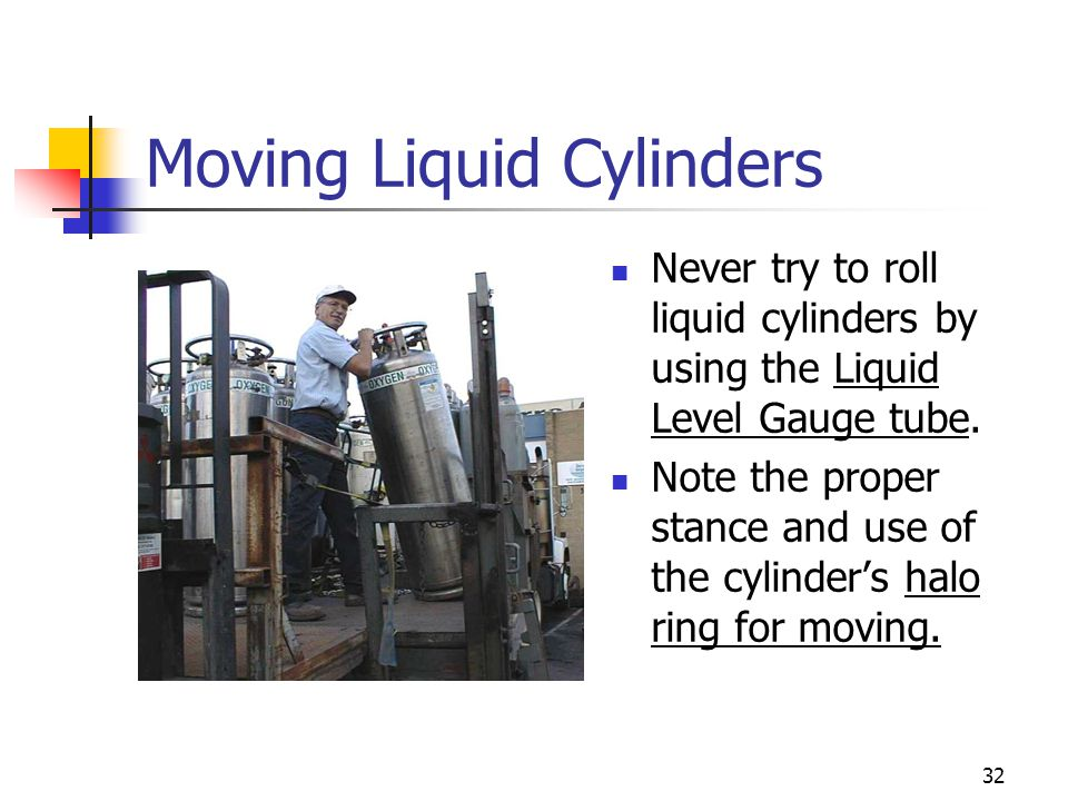 32 Moving Liquid Cylinders Never try to roll liquid cylinders by using the Liquid Level Gauge tube. Note the proper stance and use of the cylinder's h