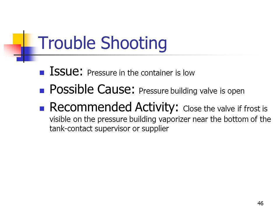 46 Trouble Shooting Issue: Pressure in the container is low Possible Cause: Pressure building valve is open Recommended Activity: Close the valve if f