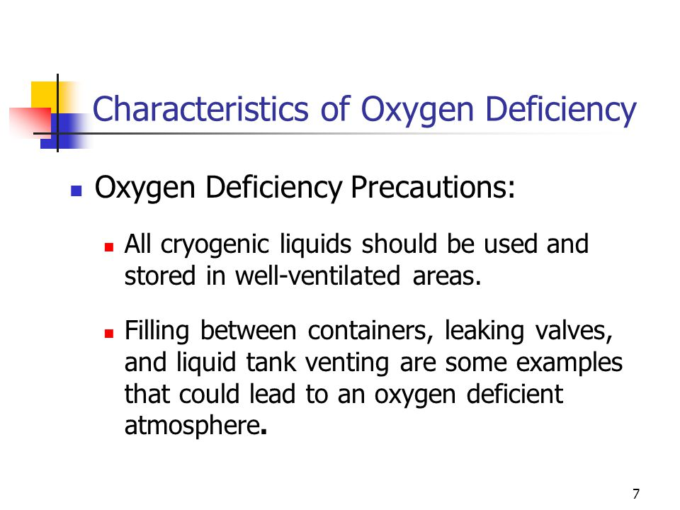 7 Characteristics of Oxygen Deficiency Oxygen Deficiency Precautions: All cryogenic liquids should be used and stored in well-ventilated areas. Fillin