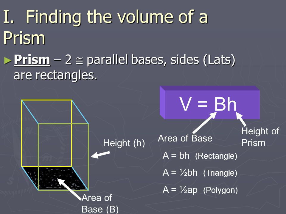 I. Finding the volume of a Prism ► Prism – 2  parallel bases, sides (Lats) are rectangles.