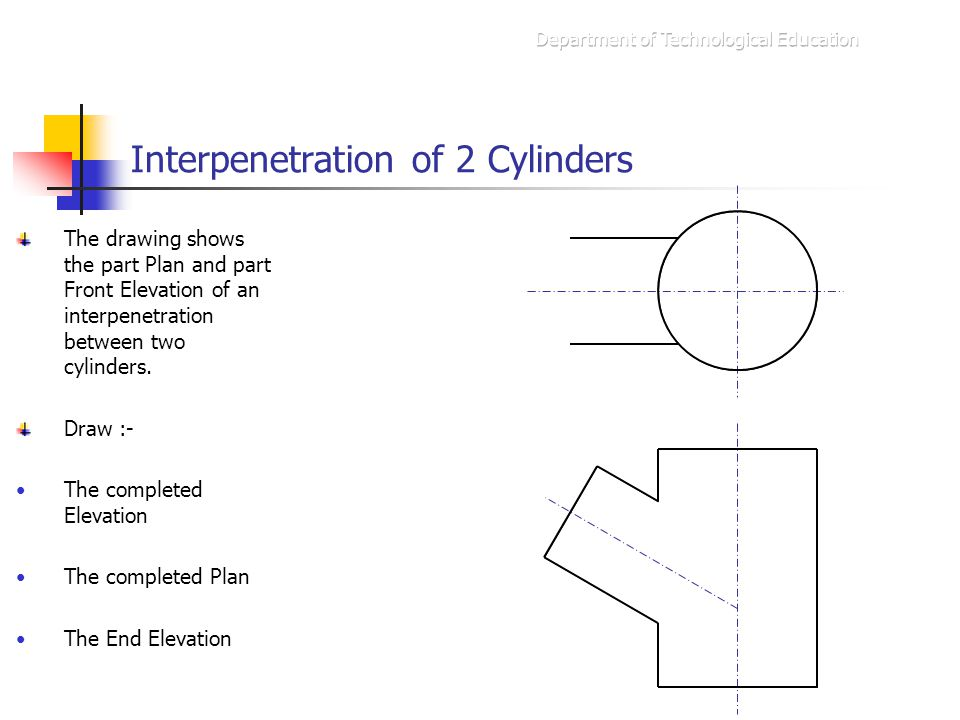 Interpenetration of 2 Cylinders The drawing shows the part Plan and part Front Elevation of an interpenetration between two cylinders. Draw :- The com