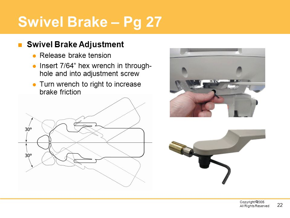 22 Copyright  2005 All Rights Reserved Swivel Brake – Pg 27 n Swivel Brake Adjustment l Release brake tension l Insert 7/64 hex wrench in through- hole and into adjustment screw l Turn wrench to right to increase brake friction